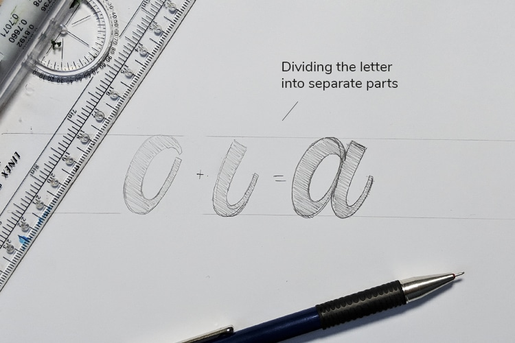 how to draw script letter a