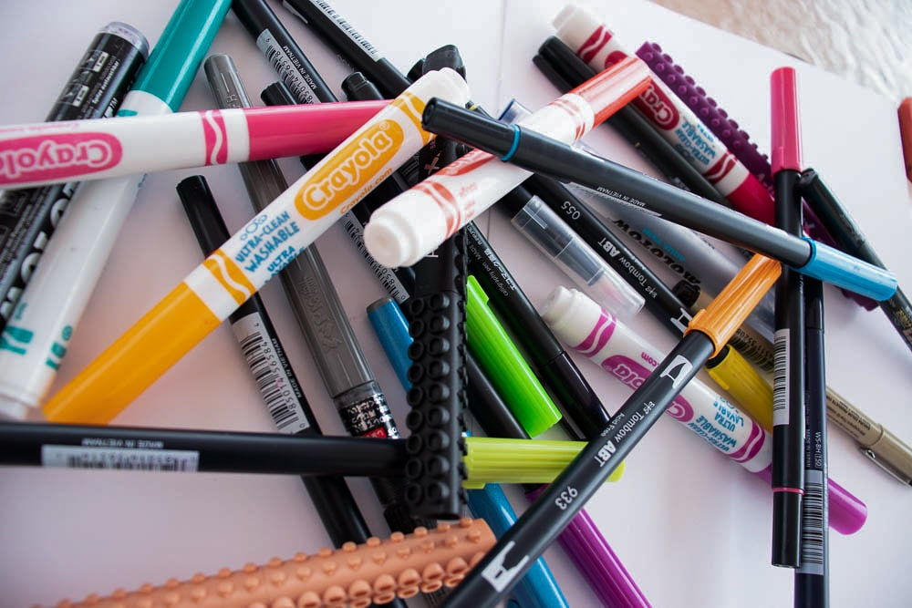 A wide selection of different brush pens