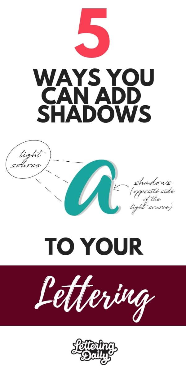 5 ways to add shadows to your lettering - lettering daily