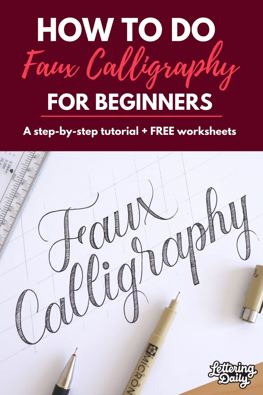 How to do faux calligraphy (UPDATED) 2020 - Lettering Daily