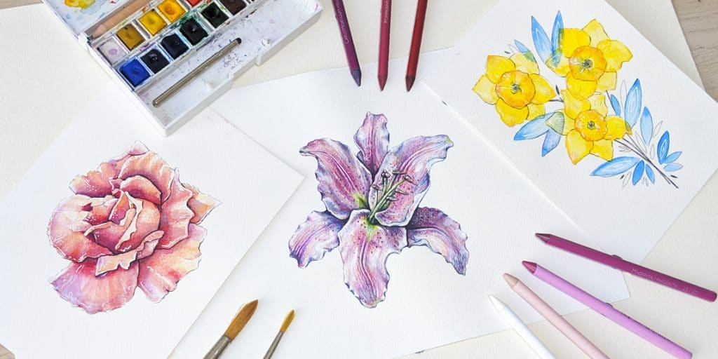 How To Create Watercolor Flowers + Free Template (2019