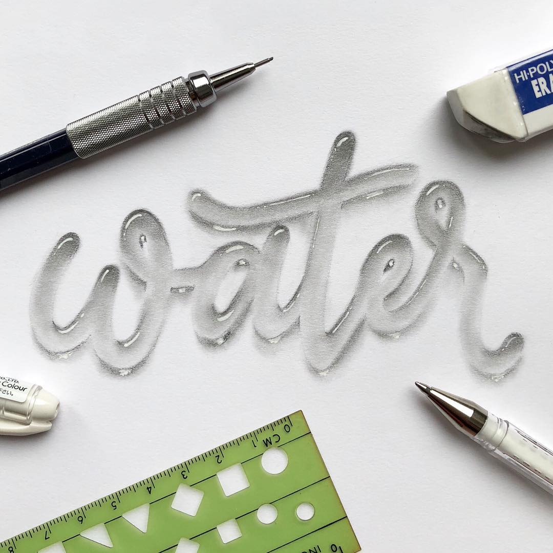 realistic water lettering effect