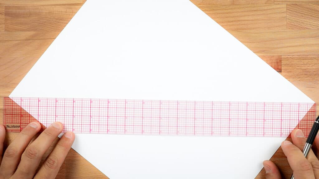 connecting the corners of an A4 piece of paper