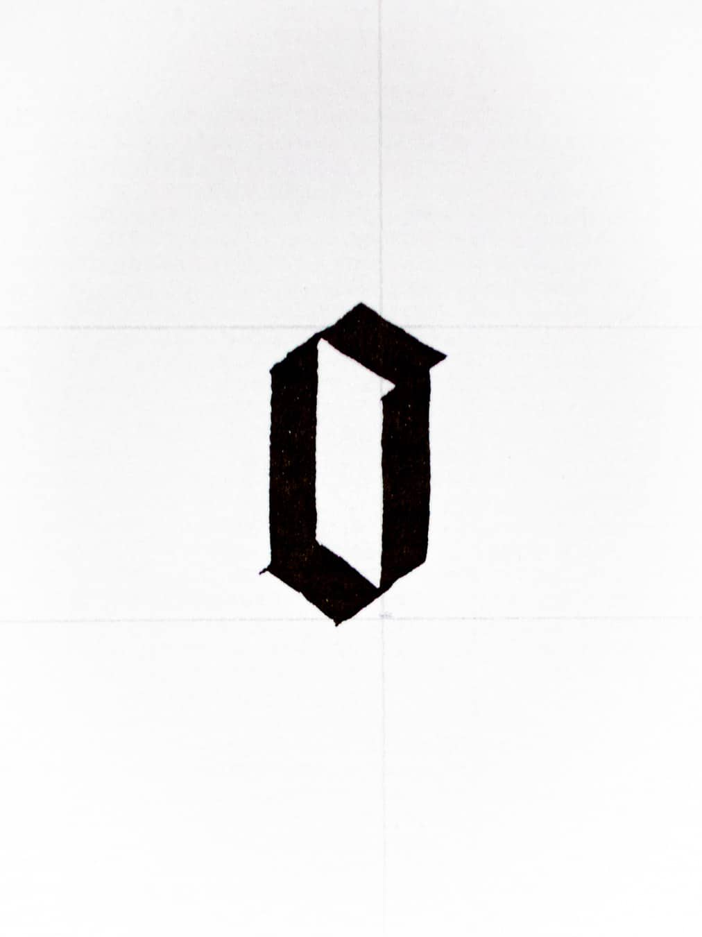 standard letter o in the gothic script