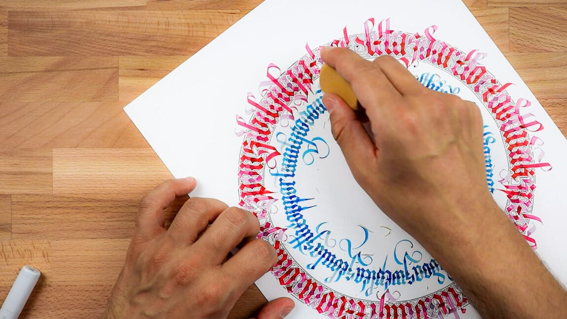 deleting pencil guidelines from the finished calligram piece