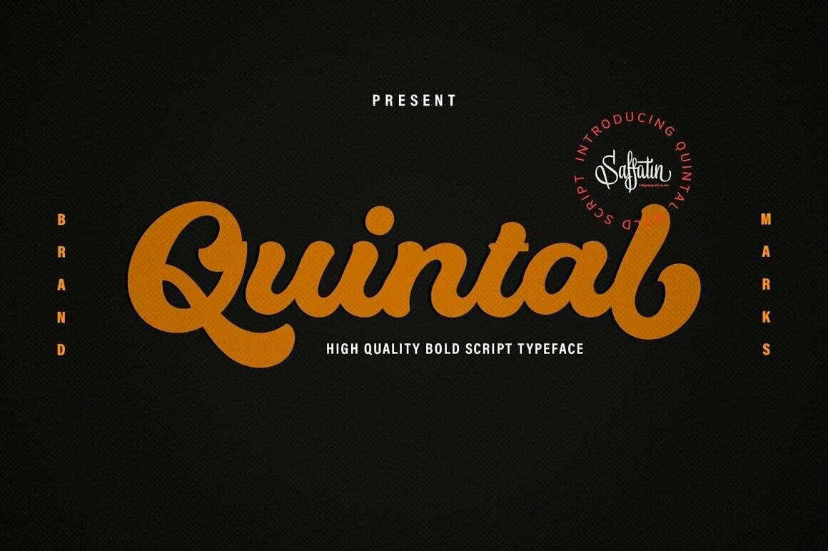 Quintal bold script calligraphy font