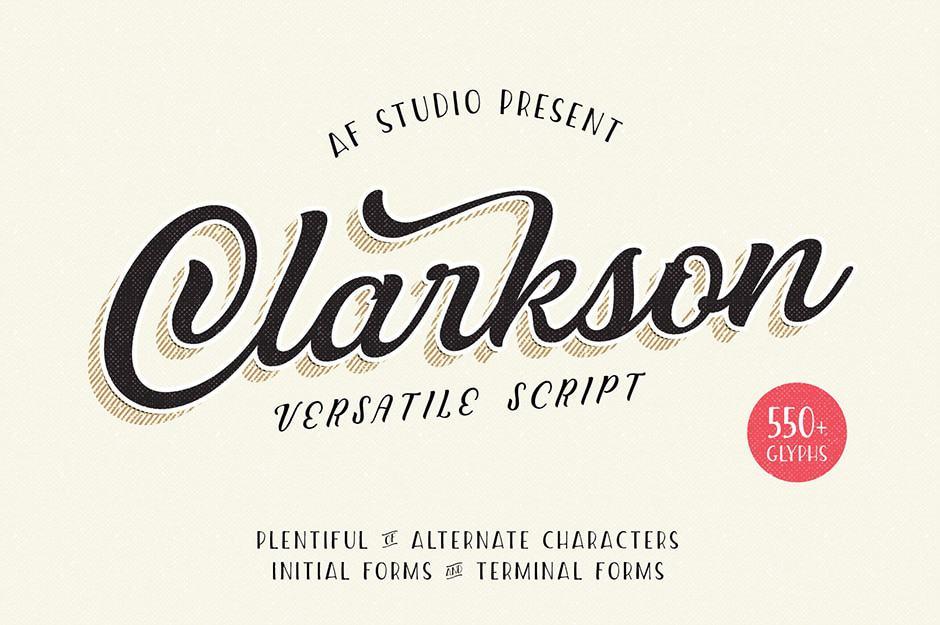 Clarkson script calligraphy font
