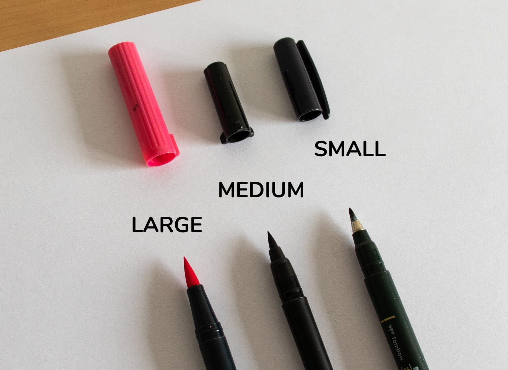 The size of the nibs