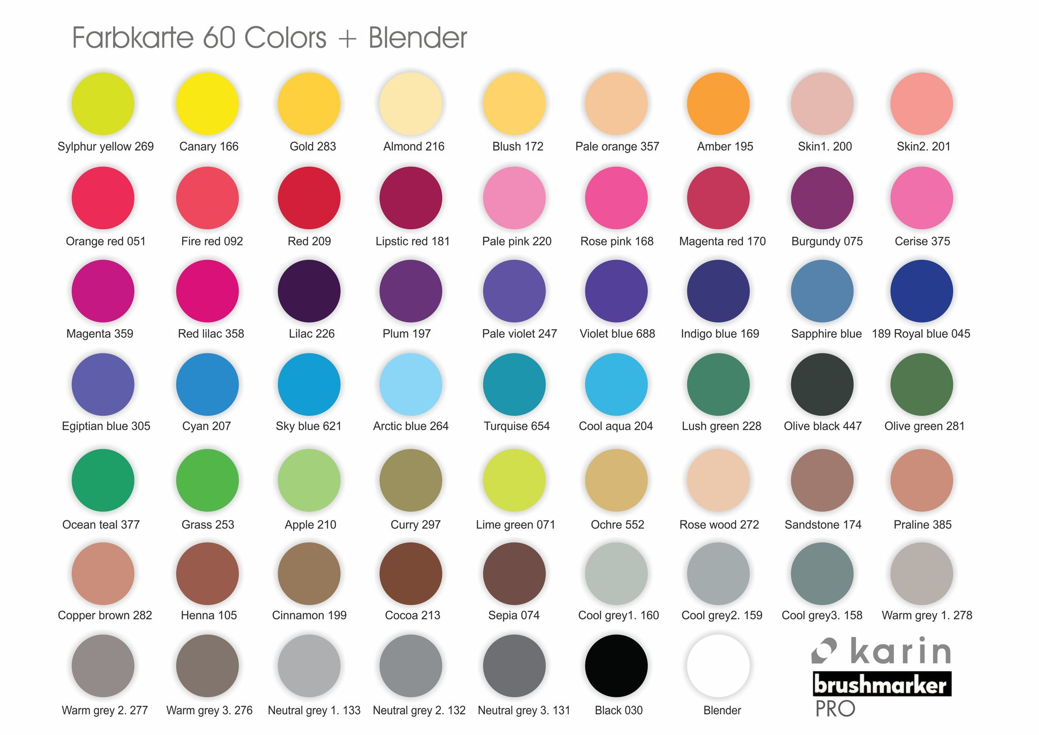 Karin Brushmarker PRO color chart
