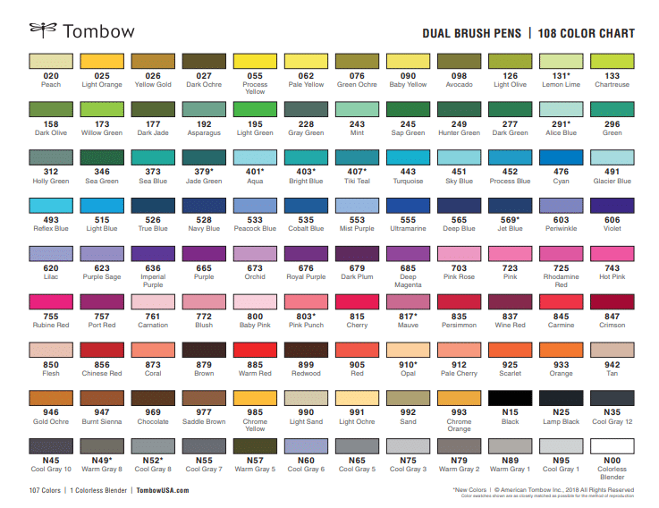 Tombow Dual Brush Pen color chart