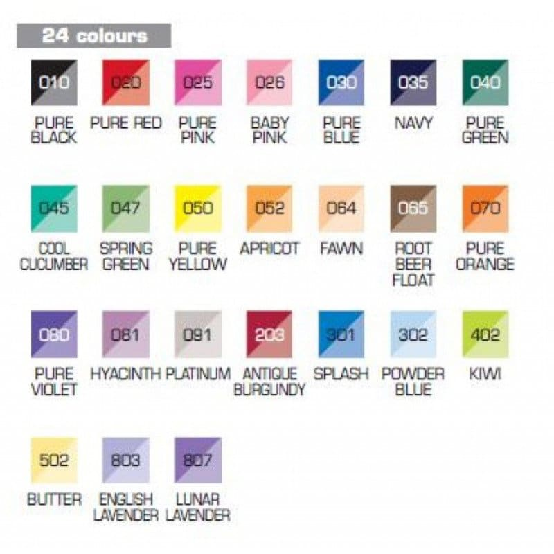 Zig Kuretake Brushables color chart