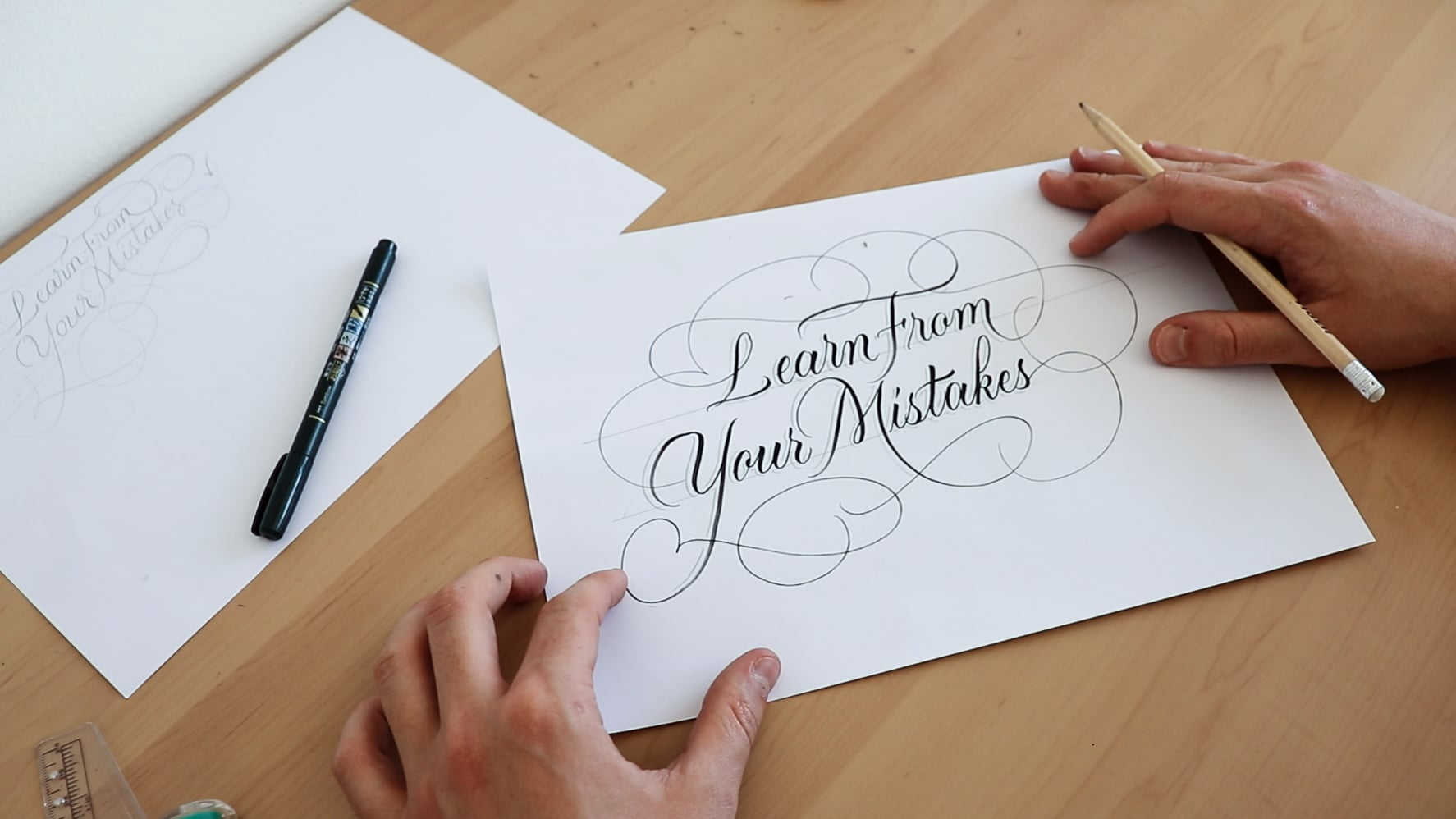 Learn from your mistakes - Brush lettering example