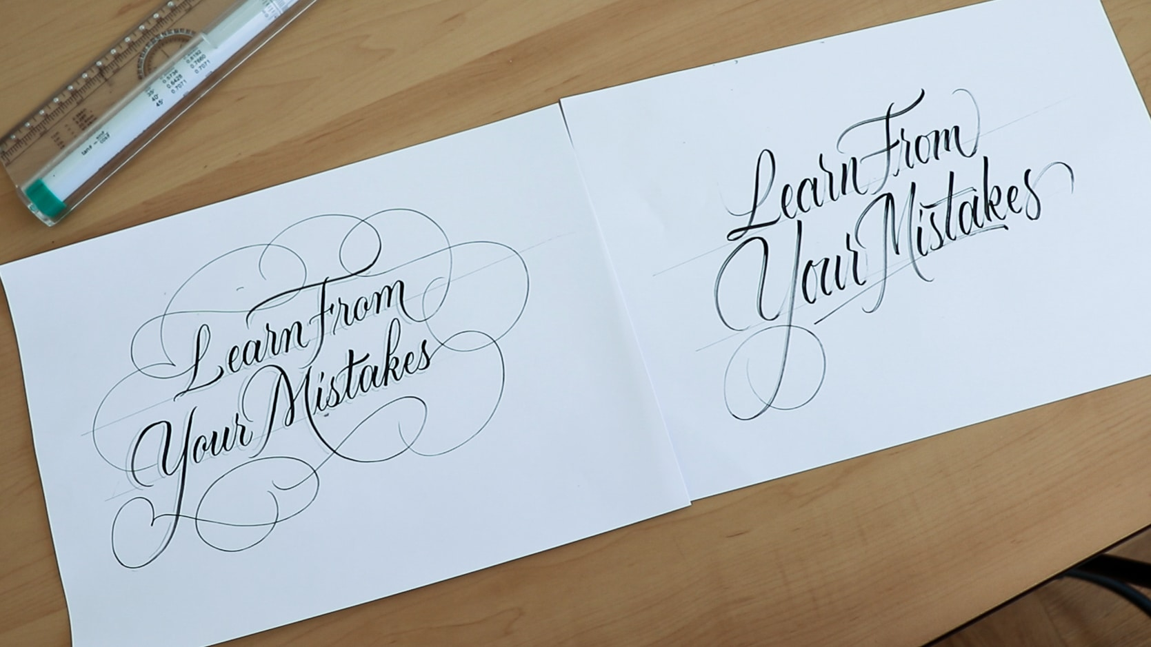 With and without sketching - brush lettering tips