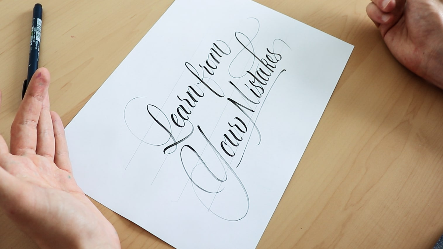 Brush lettering without prior sketching