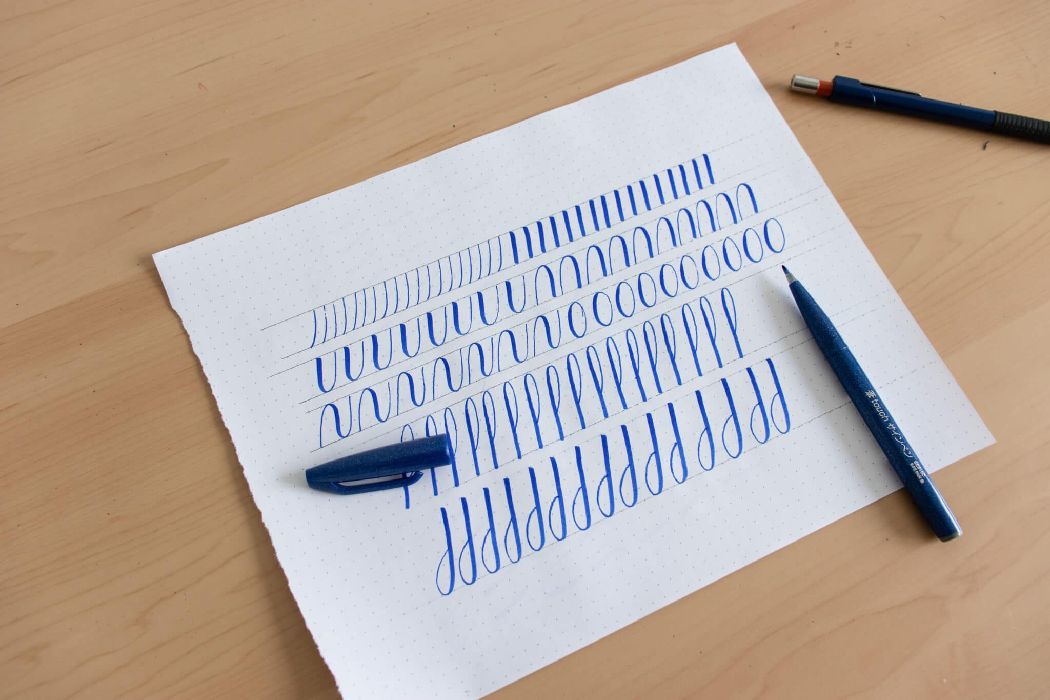 Basic calligraphy stroke drills sheet