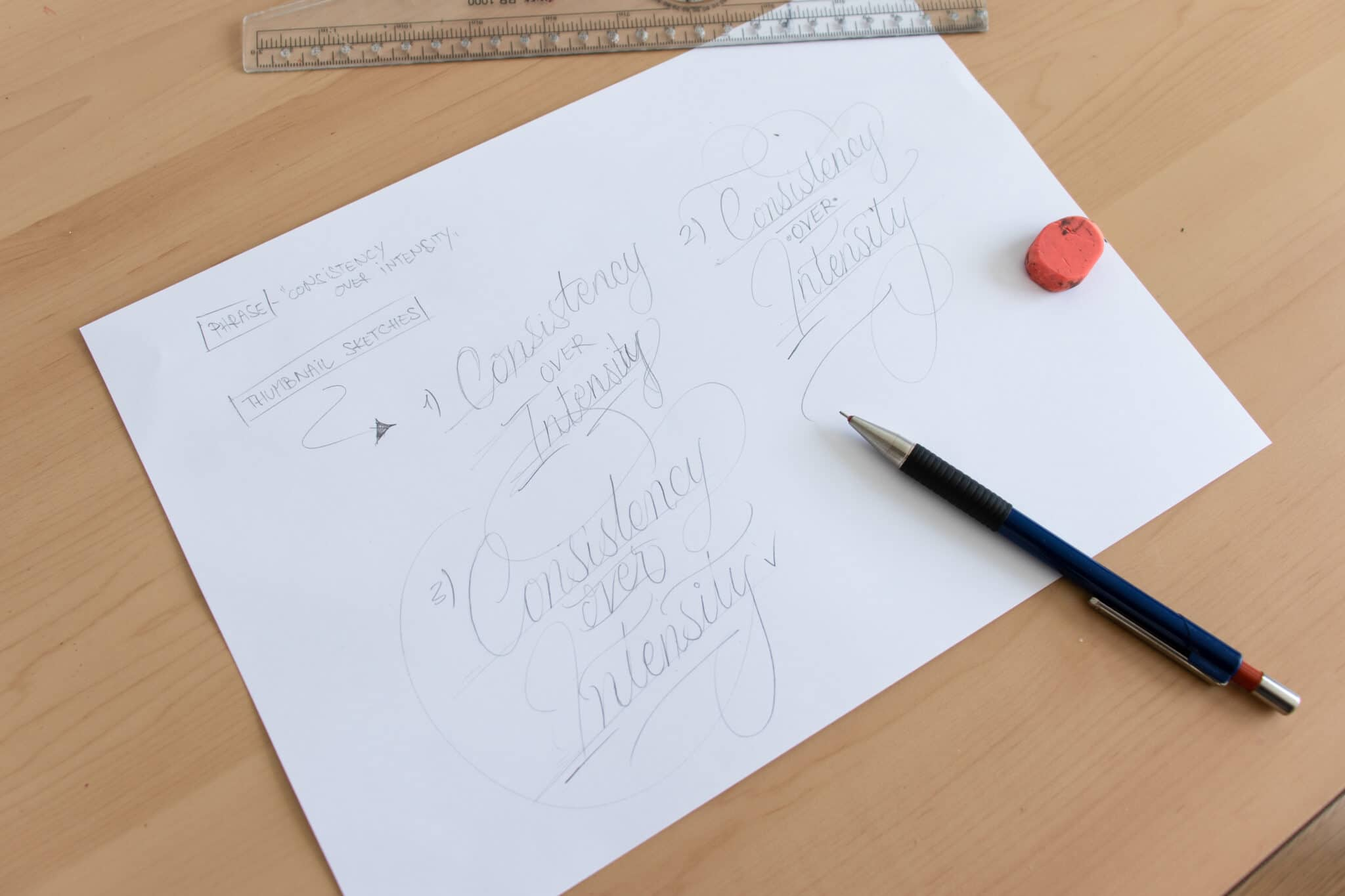 Creating thumbnail sketches for your brush lettering piece