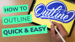 How to outline your lettering in Procreate quick and easy thumbnail for youtube + cover photo - Lettering Daily-01-01